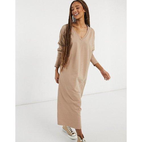 Robe pull mi-longue à col V - Camel - ASOS DESIGN - Modalova