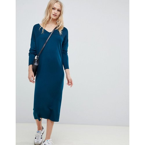Robe-pull mi-longue avec col en V et surpiqûres effet vagues - ASOS DESIGN - Modalova