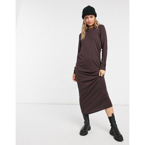 Robe style t-shirt longue à manches longues - chocolat - ASOS DESIGN - Modalova