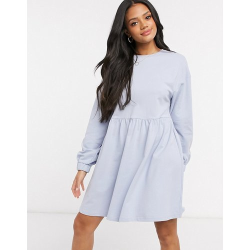 Robe sweat babydoll courte -  cendré - ASOS DESIGN - Modalova