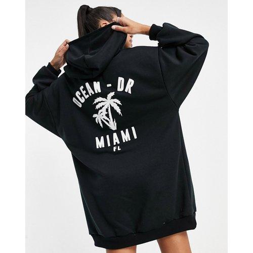 Robe sweat-shirt oversize courte à capuche à imprimé «Ocean Drive Miami» - ASOS DESIGN - Modalova