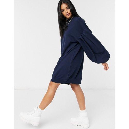 Robe sweat-shirt oversizeà manches ballon - Bleu marine - ASOS DESIGN - Modalova