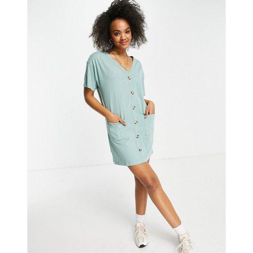 Robe t-shirt à boutons - sauge - ASOS DESIGN - Modalova