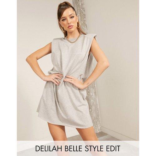 Robe t-shirt courte à épaules rembourrées - chiné - ASOS DESIGN - Modalova