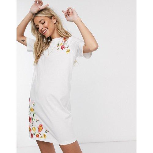 Robe t-shirt courte brodée - ASOS DESIGN - Modalova