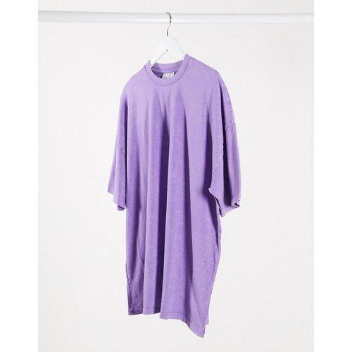 Robe t-shirt courte oversize délavée à l'acide - Lilas - ASOS DESIGN - Modalova