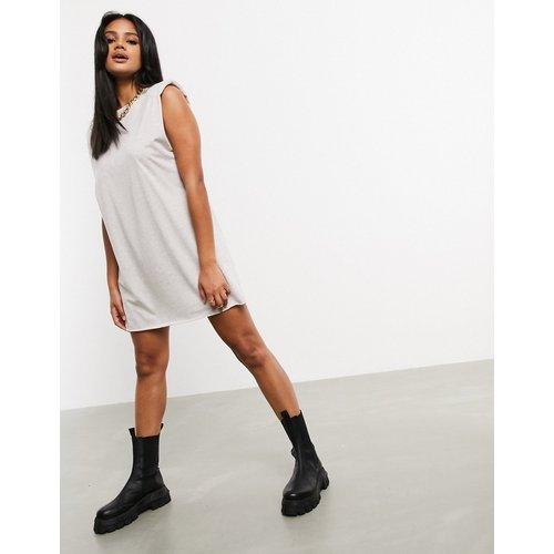 Robe t-shirt courte sans manches à épaulettes - Avoine chiné - ASOS DESIGN - Modalova