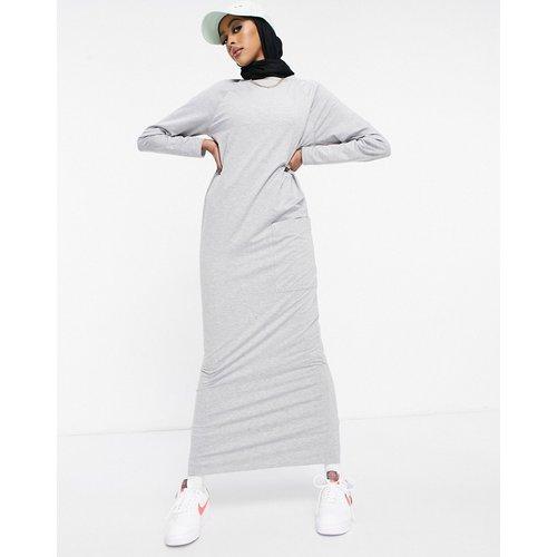 Robe t-shirt longue à manches longues avec poche - chiné - ASOS DESIGN - Modalova