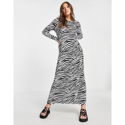 Robe t-shirt longue à manches longues et imprimé zèbre - ASOS DESIGN - Modalova