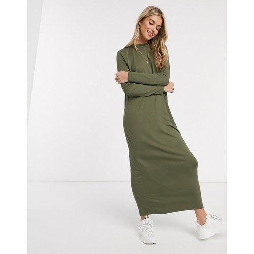 Robe t-shirt longue à manches longues - Kaki - ASOS DESIGN - Modalova