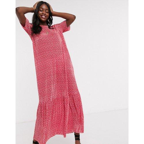 Robe t-shirt longue plissée - à petites fleurs - ASOS DESIGN - Modalova