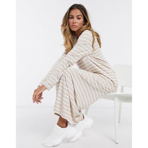 Robe t-shirt longue rayée à manches longues - et blanc - ASOS DESIGN - Modalova