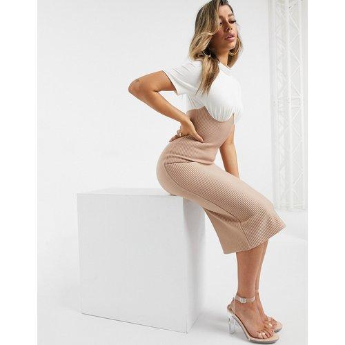 Robe t-shirt mi-longue côtelée style corset - ASOS DESIGN - Modalova