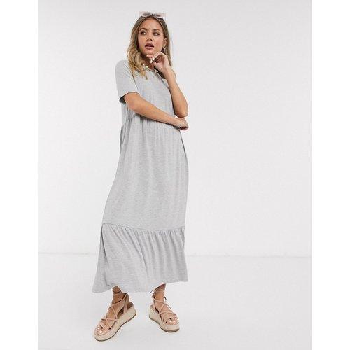 Robe t-shirt mi-longue froncée effet étagé - chiné - ASOS DESIGN - Modalova