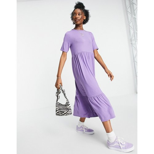Robe t-shirt mi-longue style babydoll à volants - cendré - ASOS DESIGN - Modalova