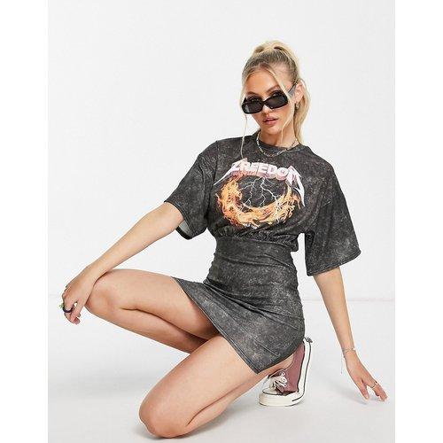 Robe t-shirt moulante avec top oversize avec bandes imprimées - délavé - ASOS DESIGN - Modalova