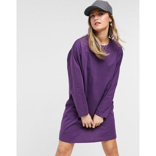Robe t-shirt oversize à manches longues - Aubergine - ASOS DESIGN - Modalova