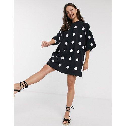 Robe t-shirt oversize à pois - Noir - ASOS DESIGN - Modalova