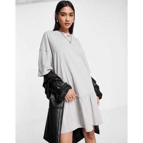 Robe t-shirt oversize avec ourlet à volants - chiné - ASOS DESIGN - Modalova