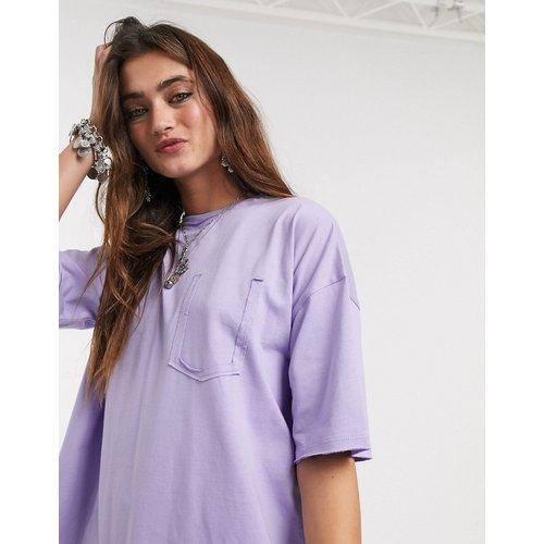 Robe t-shirt oversize avec poche fantaisie - Lilas - ASOS DESIGN - Modalova