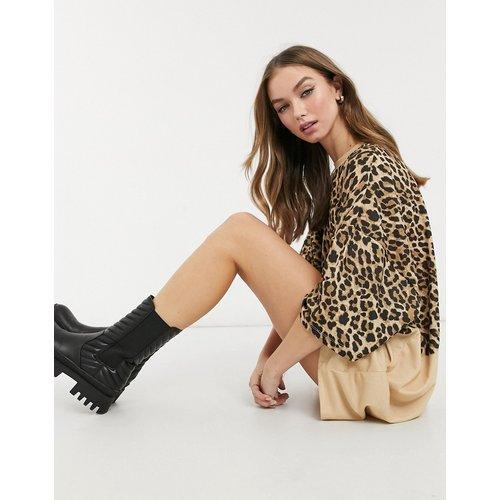 Robe T-shirt oversize effet bicolore à imprimé léopard ton sur ton - ASOS DESIGN - Modalova