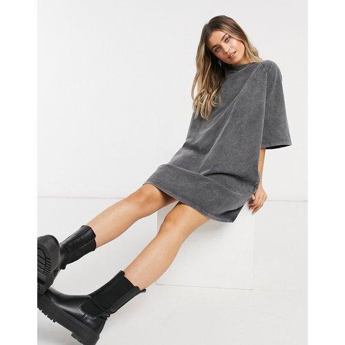 Robe t-shirt oversize en tissu épais délavé à l'acide - ASOS DESIGN - Modalova