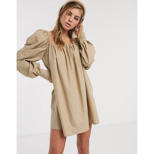 Robe trapèze courte en popeline de coton - Taupe - ASOS DESIGN - Modalova