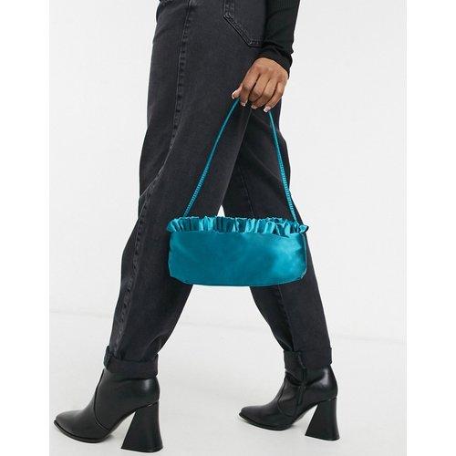 Sac porté épaule en satin avec bord volanté - Bleu sarcelle - ASOS DESIGN - Modalova