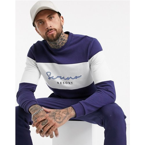 Serena - Sweat-shirt avec inscription et rayures - Bleu marine et blanc (ensemble) - ASOS DESIGN - Modalova