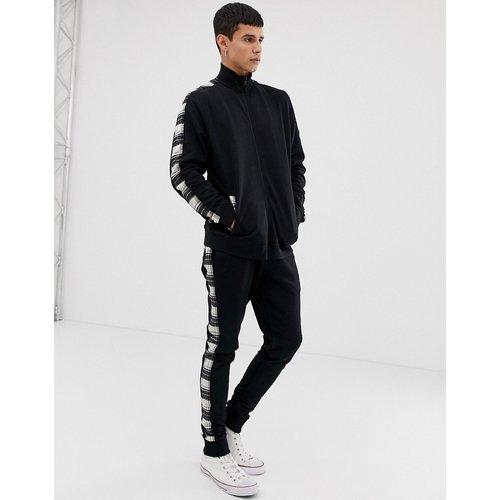 Survêtement avec veste en jersey à col de survêtement / pantalon de jogging skinny avec rayure à carreaux sur le côté - ASOS DESIGN - Modalova