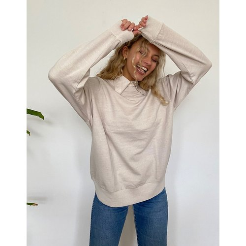 Sweat-shirt délavé oversize - Taupe - ASOS DESIGN - Modalova