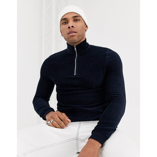 Sweat-shirt moulant en velours côtelé avec demi-fermeture éclair - Bleu marine - ASOS DESIGN - Modalova
