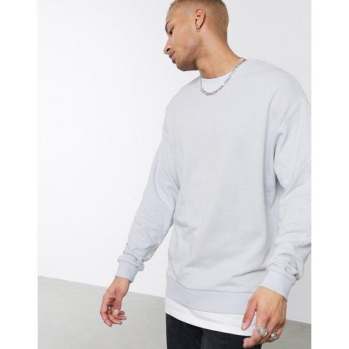 Sweat-shirt oversize avec ourlet t-shirt - Gris clair - ASOS DESIGN - Modalova