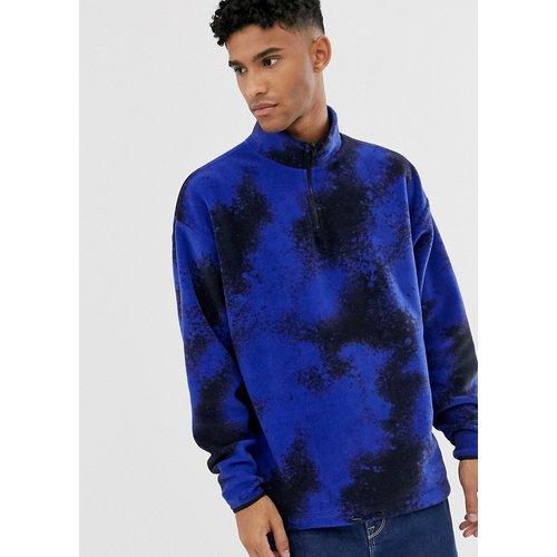 Sweat-shirt oversize en polaire à col zippé avec imprimé façon peinture - ASOS DESIGN - Modalova