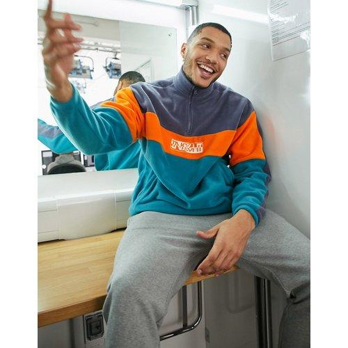 Sweat-shirt oversize en polaire color block avec col zippé - ASOS DESIGN - Modalova