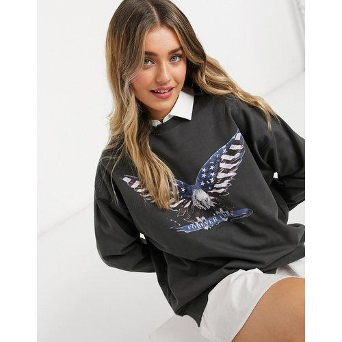 Sweat-shirt oversize imprimé aigle rock - Anthracite - ASOS DESIGN - Modalova