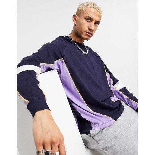T-shirt à manches longues oversize en coton biologique à effet color block - Bleu - ASOS DESIGN - Modalova