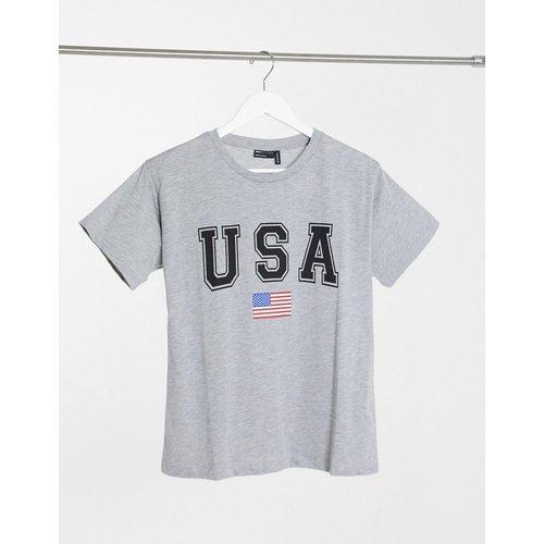 T-shirt avec imprimé USA - chiné - ASOS DESIGN - Modalova