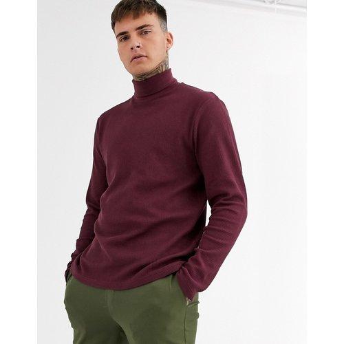 T-shirt col roulé à manches longues en tissu gaufré - Bordeaux - ASOS DESIGN - Modalova
