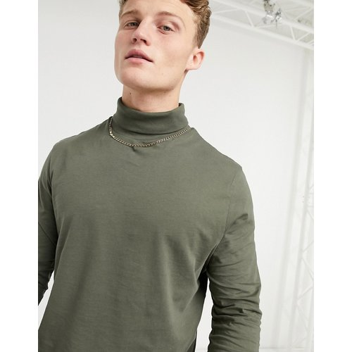 T-shirt col roulé à manches longues - Kaki délavé - ASOS DESIGN - Modalova