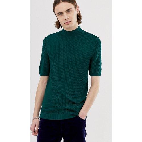 T-shirt col roulé en maille torsadée - Bleu sarcelle - ASOS DESIGN - Modalova