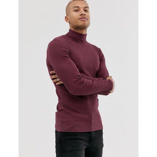 T-shirt col roulé moulant côtelé à manches longues - Bordeaux - ASOS DESIGN - Modalova