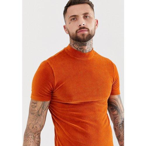 T-shirt col roulé moulant stretch en velours côtelé - Rouille - ASOS DESIGN - Modalova