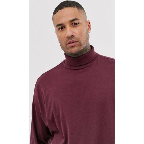 T-shirt col roulé oversize en jersey à manches longues - Bordeaux - ASOS DESIGN - Modalova