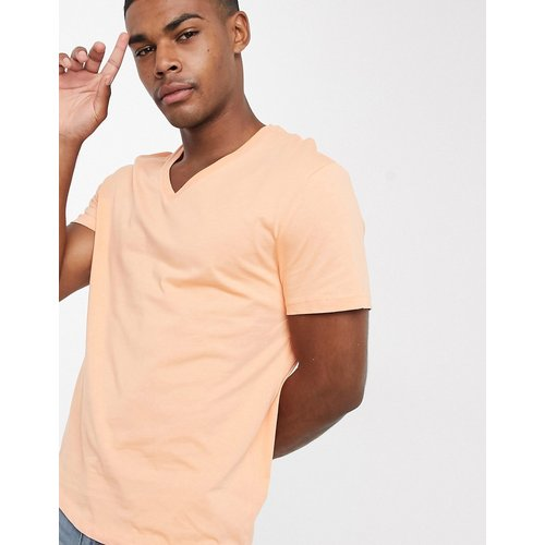 ASOS DESIGN - T-shirt col V-Orange - ASOS DESIGN - Modalova