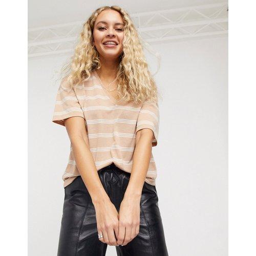 T-shirt col V en lin mélangé à rayures - Sable - ASOS DESIGN - Modalova