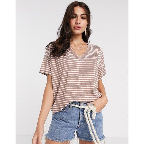T-shirt col V oversize à rayures effet dévoré - ASOS DESIGN - Modalova