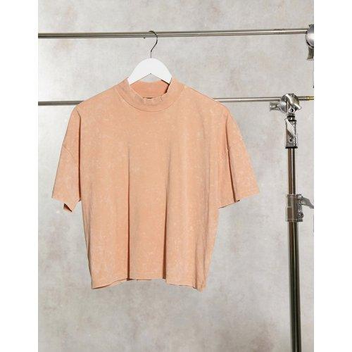 T-shirt coupe carrée avec col côtelé - Paille délavé - ASOS DESIGN - Modalova