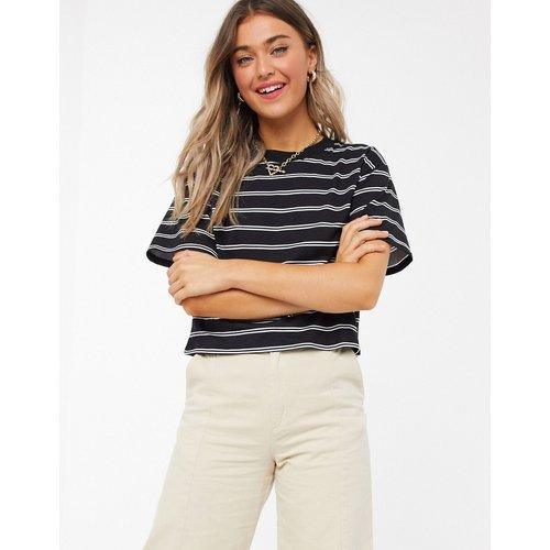 T-shirt crop top - Blanc et noir à rayures - ASOS DESIGN - Modalova