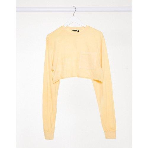 T-shirt crop top ultra court avec poche - Paille délavée - ASOS DESIGN - Modalova